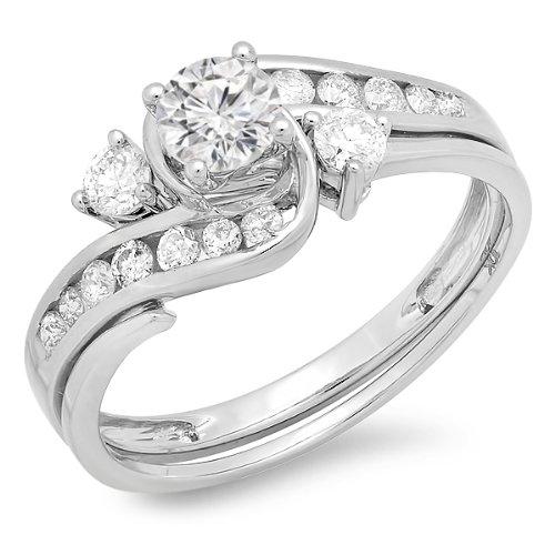 090-Carat-ctw-14K-Gold-Round-Diamond-Swirl-Bridal-Engagement-Ring-With-Matching-Band-Set-1-CT