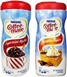 Nestle Coffee-mate Peppermint Mocha + Pumpkin Spice Powdered Non-Dairy Creamers, 15 Ounce (COMBO)