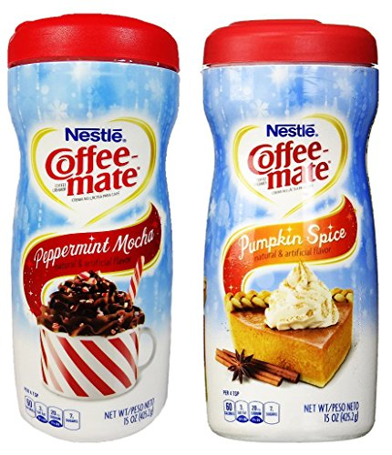 Nestle Coffee-mate Peppermint Mocha + Pumpkin Spice Powdered Non-Dairy Creamers, 15 Ounce (COMBO) (Coffee Mate Pumpkin Spice compare prices)