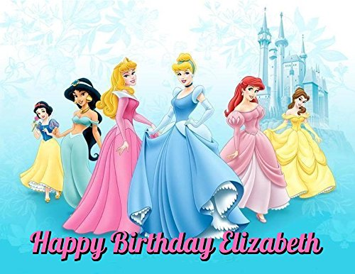 Disney Princess Sleeping Beauty Cinderella Ariel Jasmine Belle Aurora Snow White Edible Image Photo Cake Frosting Icing Topper Sheet Personalized Custom Customized Birthday Party - 1/4 Sheet - (Disney Princess Ariel Pictures)