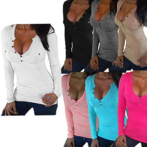 Cou Solide Shirt Coton Blouse Juleya Femme V Profond Blouses Tenues T Casual rose Couleur Haut 6XL Chemisier Outwear rouge Longues Chemises S vPXxqwB