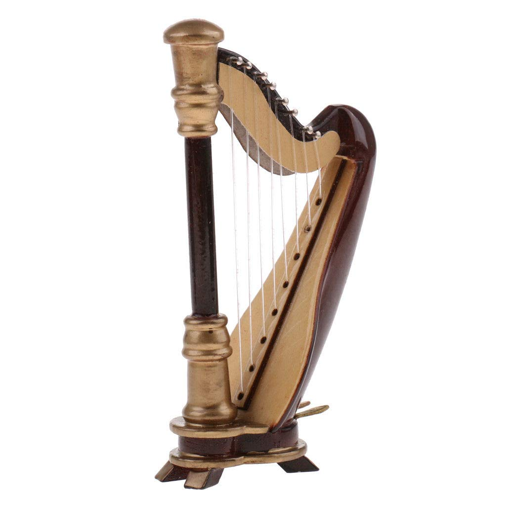 1:12 Wooden 8-strings Harp Dollhouse Miniature Stringed Musical Instrument