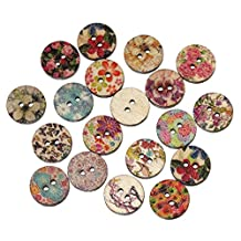 Souarts Mixed Random Flower Butterfly Round 2 Holes Wooden Buttons for Sewing Crafting Pack of 200