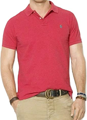 Ralph Lauren 11717-Polo Hombre Rojo Flame Heather M: Amazon.es ...