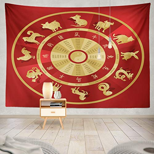 KJONG Chinese Zodiac Wheel with Twelve Animals and Chinese Zodiac Sign Year Animal Dog New Twelve Dragon TraditionalDecorative Tapestry,50X60 Inches Wall Hanging Tapestry for Bedroom Living Room Chinese Zodiac Animal Signs