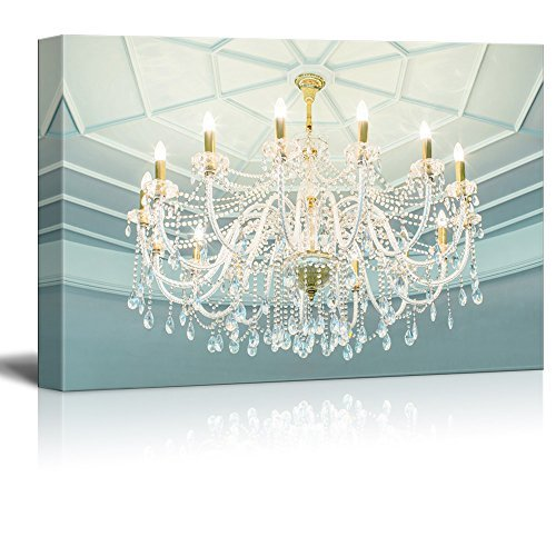 Light Crystal Chandelier Eighteen - wall26 Canvas Wall Art - Crystal Clear Chandelier and The Light Blue Dome - Giclee Print Gallery Wrap Modern Home Decor Ready to Hang - 12x18 inches