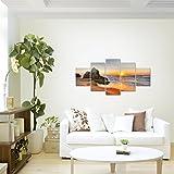 Bilder-Sonnenaufgang-Strand-Wandbild-Vlies-Leinwand-Bild-XXL-Format-Wandbilder-Wohnzimmer-Wohnung-Deko-Kunstdrucke-Braun-5-Teilig-100-MADE-IN-GERMANY-Fertig-zum-Aufhngen-609552a