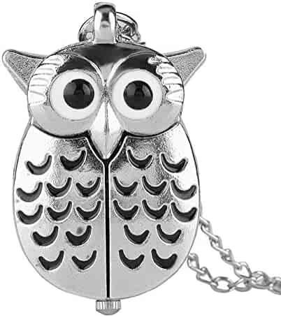 Pocket Watches Night Owl Pocket Watch, Cartoon Silver Owl Pocket Watch, Gift for Boys Girls Nacklaces Pendants