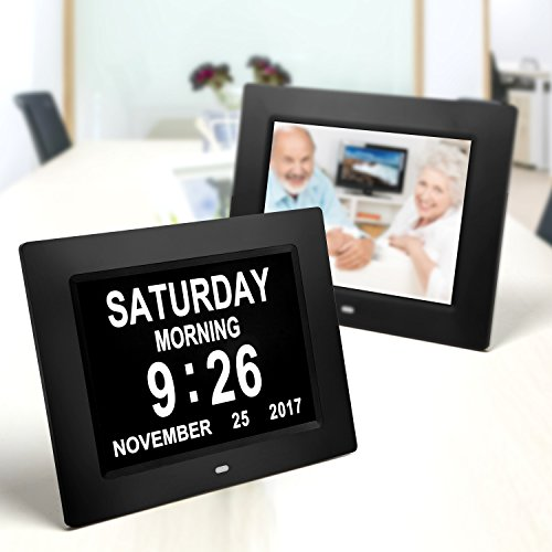 Display Calendar (Day Clock & Digital Photo Frame,with Large Display Digital Calendar,5 Alarm Options,Auto-Dim Options, Perfect for Vision Impaired, Elderly, Memory Loss)