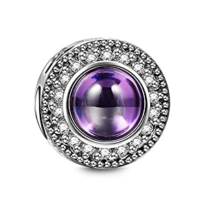 "NINAQUEEN ""Wishing Charms 925 Sterling Silver Hollow Design Purple Bead Charms"