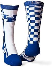 University of Kentucky White/Blue Checkerboard Performance Socks