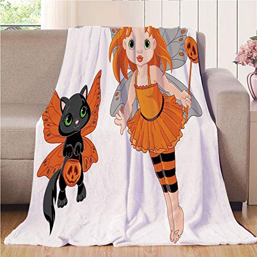 Throw Blanket Super soft and Cozy Fleece Blanket Perfect for Couch Sofa or bed,Halloween,Halloween Baby Fairy and Her Cat in Costumes Butterflies Girls Kids Room Decor Decorative,Multicolor,47.25