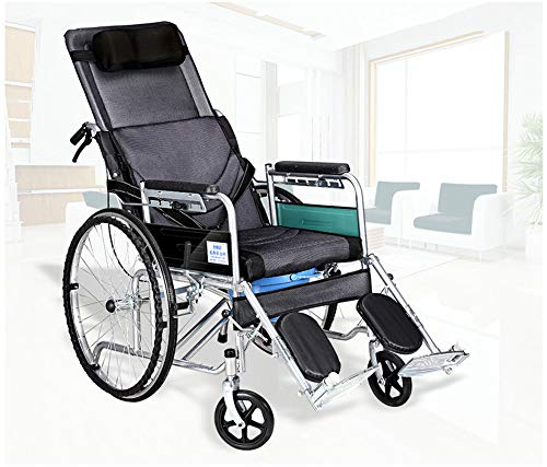 Multi-Functional Fully Lying Flat Reclining Wheelchair Lightweight Folding Wheelchair with Handbrakes Cerebral Palsy Adult Wheelchair