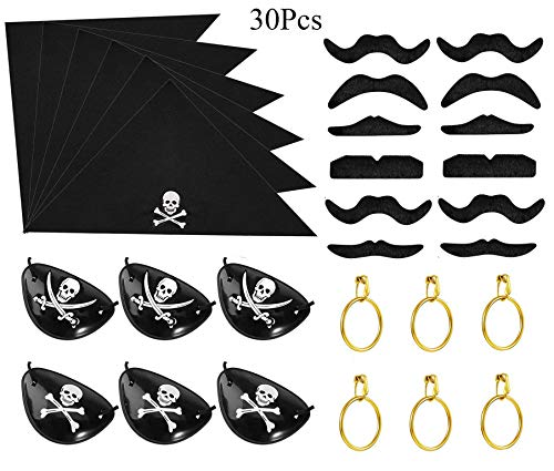 30 Pieces Halloween Pirate Costume Dress up Accessories Set for Kids Boys with Pirate Eye Patches Bandana Gold Earrings Pirate Fake Moustache for Pirate Party