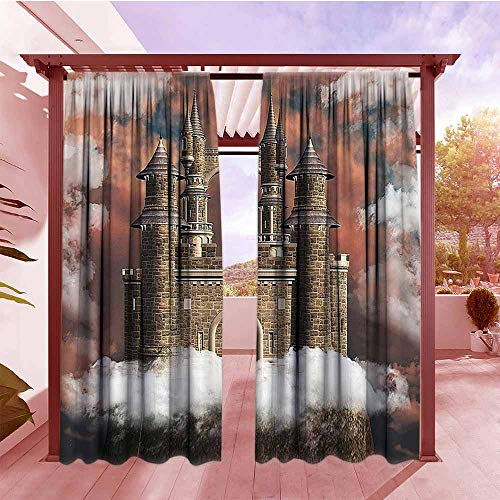AndyTours Indoor/Outdoor Top Curtain Medieval Decor Collection Fairy Magic Castle on The Hill Middle Age Tales Unusual Facts in Graphic Art All Purpose Lined Rod Pocket Drapes W84x84L White Red Grey ()