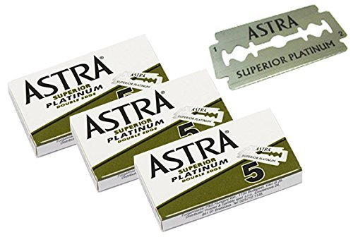 Astra Superior Premium Platinum Double Edge Safety Razor Blades 3 Pack of 5 Blades (3) (Premium Razor)