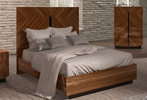 ESF Flavia Glossy Walnut Finish Queen Platform Bed Made in Italy - Bed Italian Modern Platform