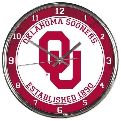 - Hall of Fame Memorabilia Oklahoma Sooners Round Chrome Wall Clock