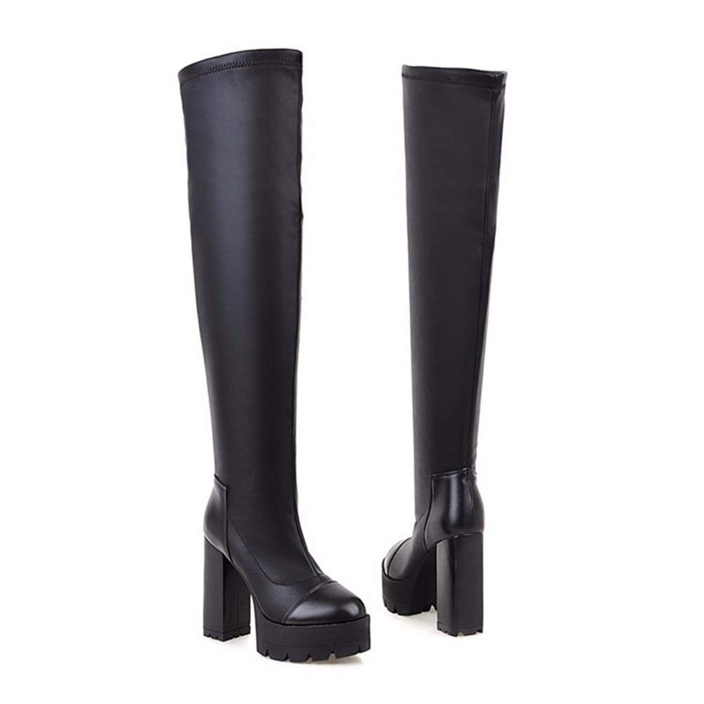 1a52c7d2144e0 Amazon.com   Hoxekle Women Over The Knee High Boot Winter Leather ...