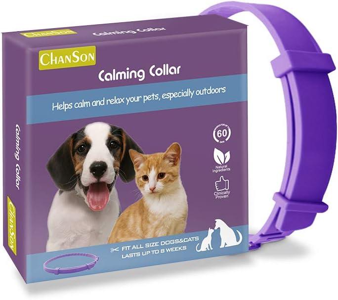 Collar calmante para perros y gatos,Collar ajustable contra la ansiedad,Alivio de la ansiedad de efecto calmante duradero a prueba de agua natural y seguro,1 paquete(Grande)