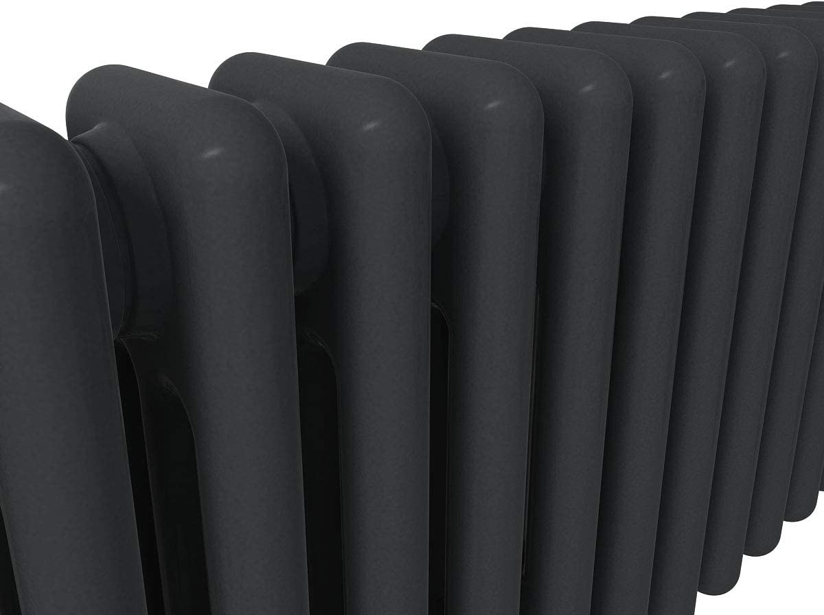 Perfect for Bathrooms Warmehaus Traditional Cast Iron Style Anthracite 3 Column Horizontal Radiator 600x1010mm Living Room Hallway Kitchen Modern Central Heating Space Saving Radiators