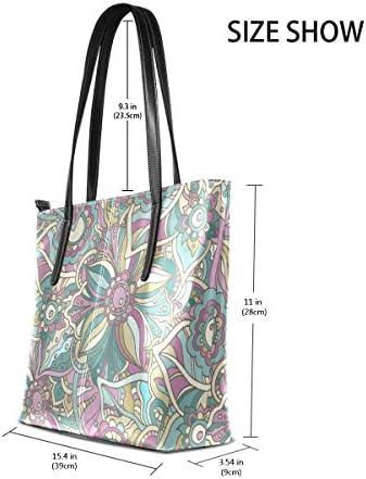 COOSUN Tracolla in pelle Hippie Doodle fiori e foglie PU Borsa Borsa e Borse Tote Bag per le donne medio muticolour