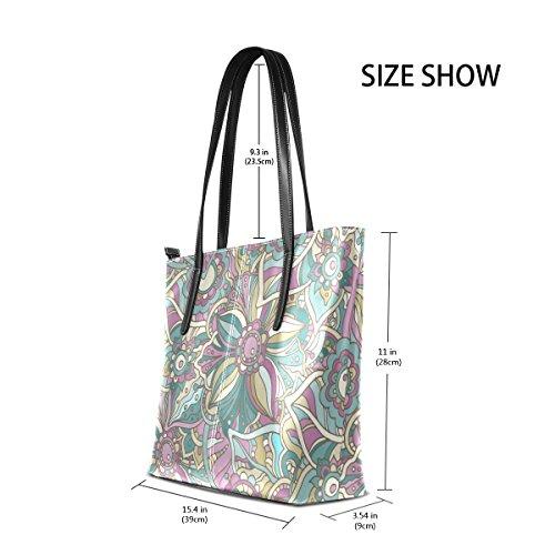 ec18afed5a71a COOSUN Hippie Doodle Blumen und Blätter PU Leder Schultertasche Handtasche  und Handtaschen Tasche für Frauen ...