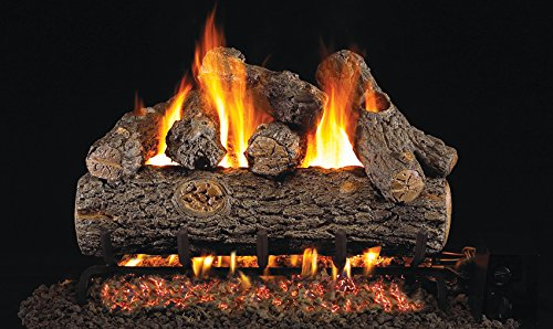 Peterson Gas Logs RDPG45-18 18in. Golden Oak Designer Plus G45 Burner 6 Log Set for Standard Fireplaces by Peterson Gas Logs