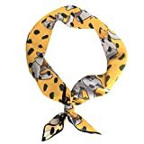 GERINLY Silk Feel Small Scarf: Lovely Elephant Print Bandana Neckerchief for Women (Yellow)