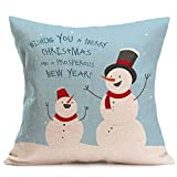 Merry Christmas Pgojuni Linen Pillowcase Decoration Accent Throw Pillow Cover Cushion Cover for Couch/Sofa 1pc 45X45 cm (C)