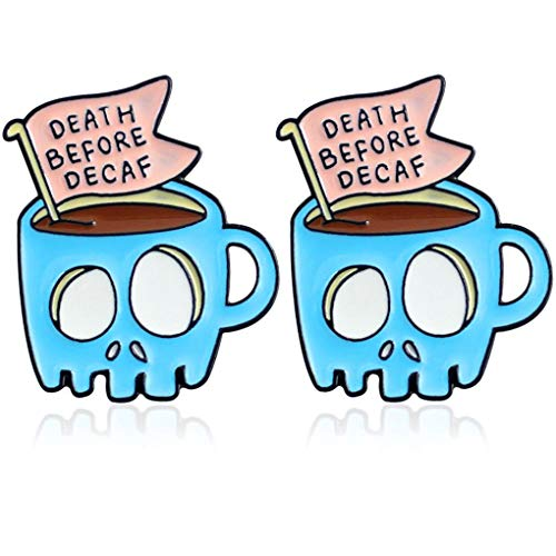 Charmart Death Before Decaf Lapel Pins 2 Piece Set Skull Coffee Cup Enamel Brooch Pin Badge Friends Gifts