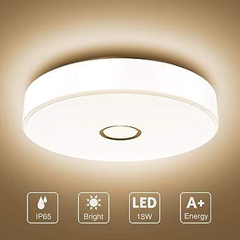 Onforu 18W LED Lámpara de Techo Baño, IP65 Impermeable LED Plafón ...