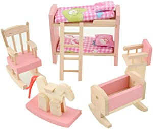 ZDYWY Wooden Dollhouse Furniture Set Pretend Play Toy for Kids Baby Girl - Kids Bedroom