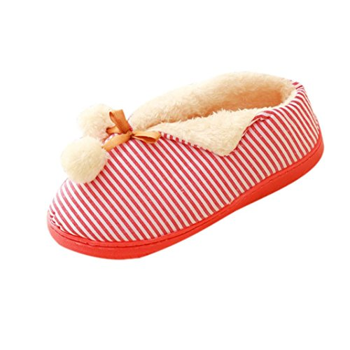 Amiley Womens Casual Winter Warme Instappers Huis Slippers Antislip Loafer Schoenen Rood