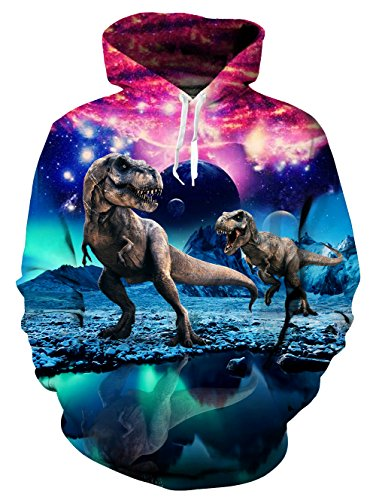 Mens Printed Novelty Ugly Dinosaur Pullover Hoodie Casual Pocket Hooded Sweatshirts S