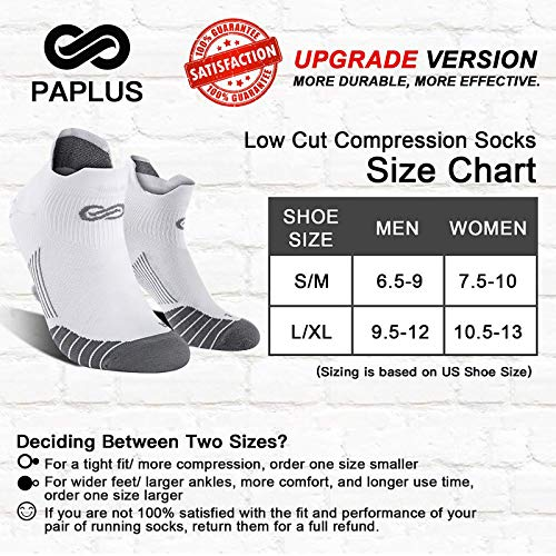 Ankle Athletic Socks Low Cut with Arch Support PAPLUS Compression Running Socks Women 6 Pairs