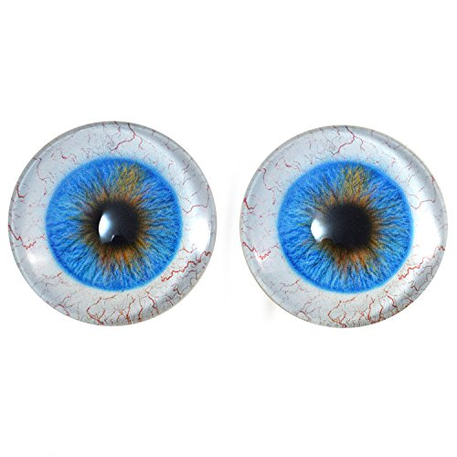 40mm Pair of Blue Human Glass Eyes, for Jewelry Making, Dolls, Sculptures, More]()
