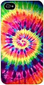 Bright Tie-Dye- Case for the Apple Iphone 4-4s Universal- Hard White Plastic