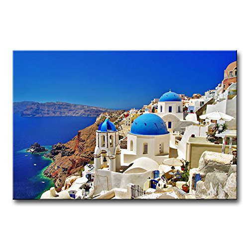 So Crazy Art - Canvas Print Wall Art Painting For Home Decor,Oia Town On Santorini Island, Greece. Traditional And Famous White Houses And Churches With Blue Domes Over The Caldera, - Santorini Art Greece Framed Oia