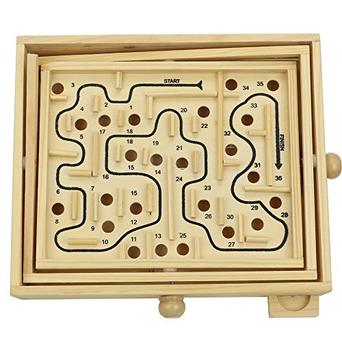 (Micord Original Wooden Labyrinth Puzzle Solitaire Maze Game for Kids and Adults -)