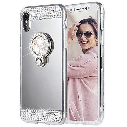 - iPhone X Case, Caka iPhone Xs Glitter Case Rhinestone Series Luxury Cute Shiny Bling Mirror Makeup Case for Girls with Ring Kickstand Diamond Crystal Protective TPU Case for iPhone X XS (Silver)