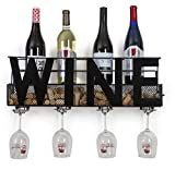 "Besti Premium Black Wall Mount Metal Wine Rack With ""WINE"" Word By Hanging Horizontal Bottle Holder Storage Decorative Display – Sturdy Construction –Home Décor For Living Room Or Kitchen (Wine) Review"