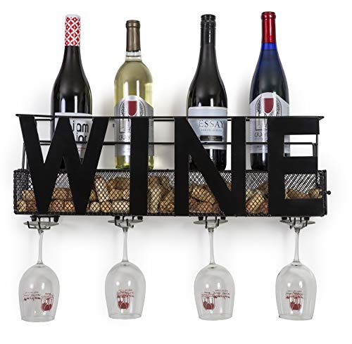 """Besti Premium Black Wall Mount Metal Wine Rack with """"Wine"""" Word Hanging Horizontal Bottle Holder Storage Decorative Display – Sturdy Construction –Home Décor for Living Room Or Kitchen (Wine) (Insert Rack Glass)"""