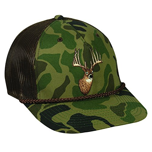 Outdoor Cap Adjustable Closure Deer Logo Cap, Generic Camo/Brown Deer Logo Cap