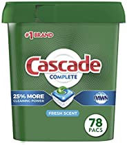 Cascade Complete Dishwasher-Pods, ActionPacs Dishwasher Detergent Tabs, Fresh Scent, 78 Count (Packaging May V