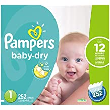 Pampers Baby-Dry Disposable Diapers Size 1, 252 Count, ECONOMY PACK PLUS