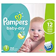 Pampers Baby Dry Diapers Size 1, 252 Count (Packaging May Vary)