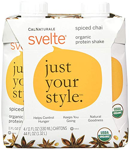 Svelte Organic Protein Shake, Spiced Chai, 11 Ounce, 4 Count (Pack of 6)