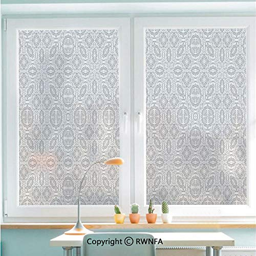 RWNFA Window Glass Sticker Door Mural Lace Victorian Damask Antique Baroque Design with Oriental Effects Renaissance Art Static Cling Privacy No Glue Film Home Decorative 22.8x35.4inch,White