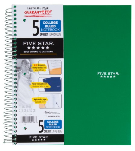 043100062080 - Five Star Spiral Notebook, 5 Subject, College Ruled, 200 Sheets, 11 x 8.5 Inch, 1 Notebook, Assorted Colors - Color May Vary (06208) carousel main 2